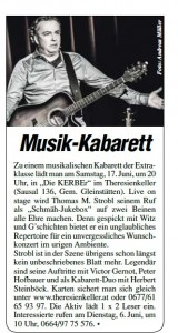 Thomas Strobl, DIE KERBEr, Theresienkeller, Aktiv Zeitung